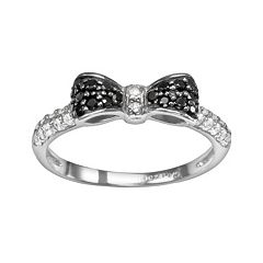 Sophie Miller Sterling Silver Black & White Cubic Zirconia Bow Ring