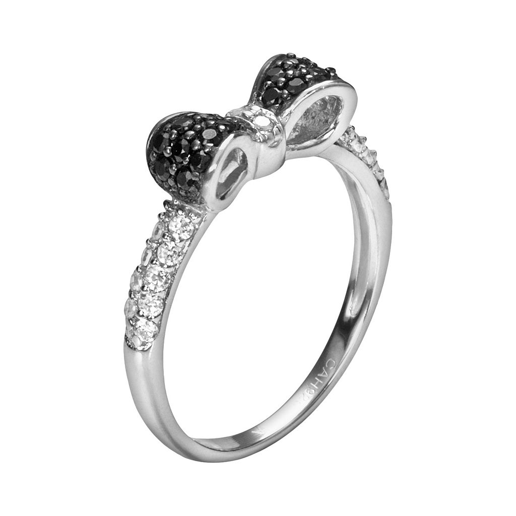 Sophie Miller Sterling Silver Black and White Cubic Zirconia Bow Ring