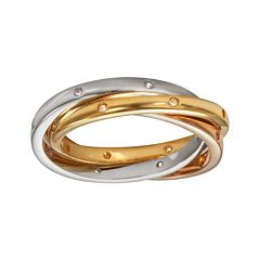 Sophie Miller 14k Gold Over Silver & Sterling Silver Tri-Tone Cubic Zirconia Interlocking Ring