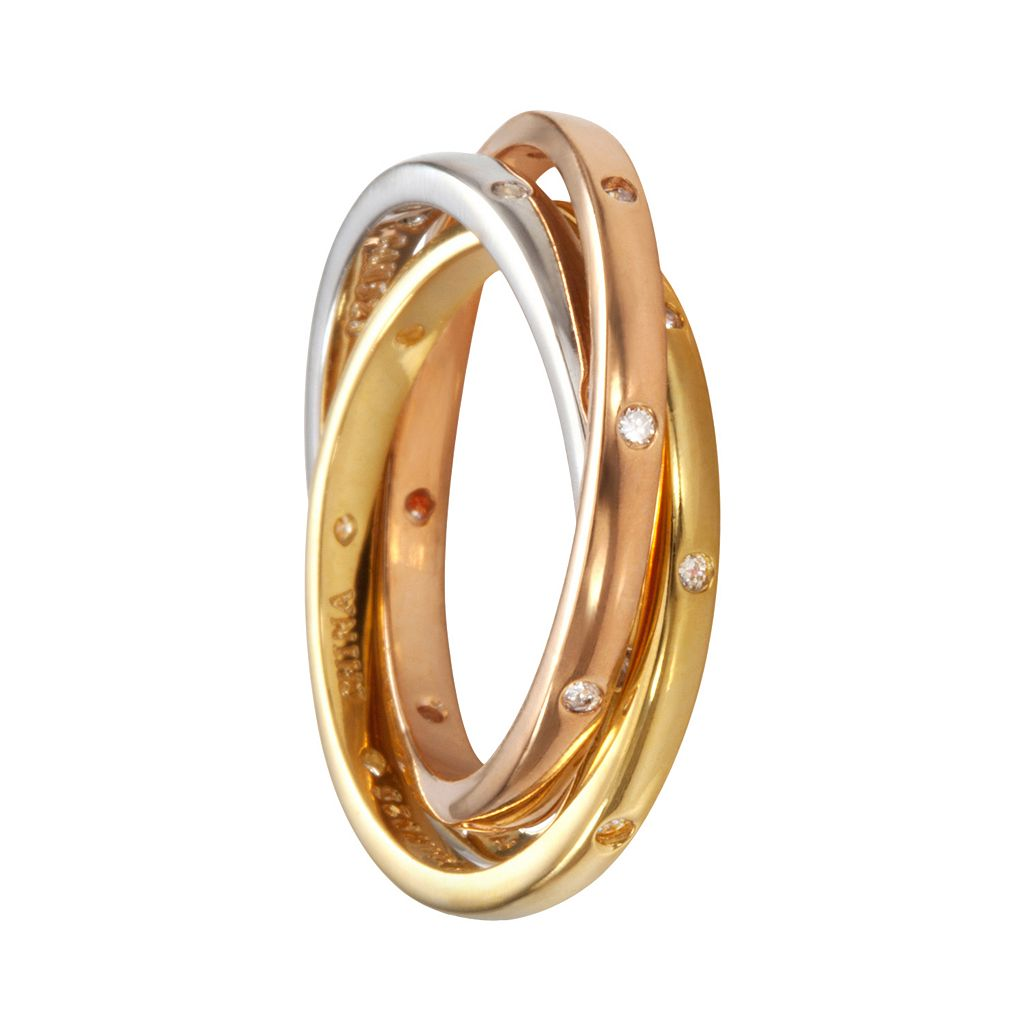 Sophie Miller 14k Gold Over Silver and Sterling Silver Tri-Tone Cubic Zirconia Interlocking Ring