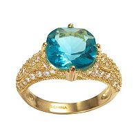 Sophie Miller 14k Gold Over Silver Aqua & White Cubic Zirconia Filigree Ring