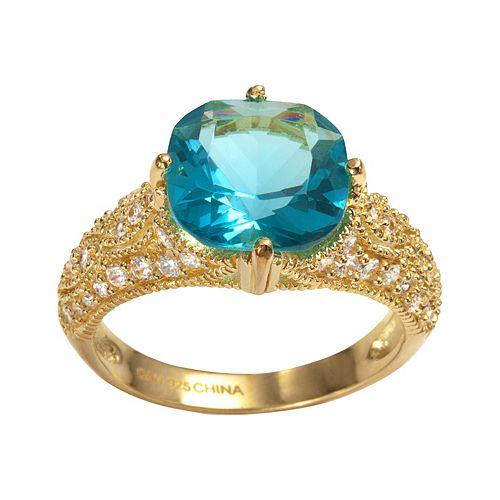 Sophie Miller 14k Gold Over Silver Aqua & White Cubic Zirconia Filigree Ring