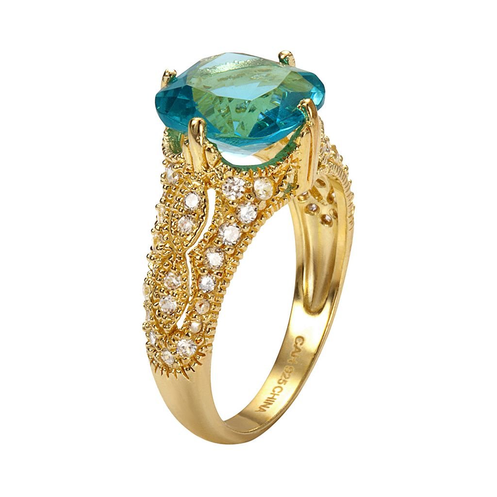 Sophie Miller 14k Gold Over Silver Aqua and White Cubic Zirconia Filigree Ring
