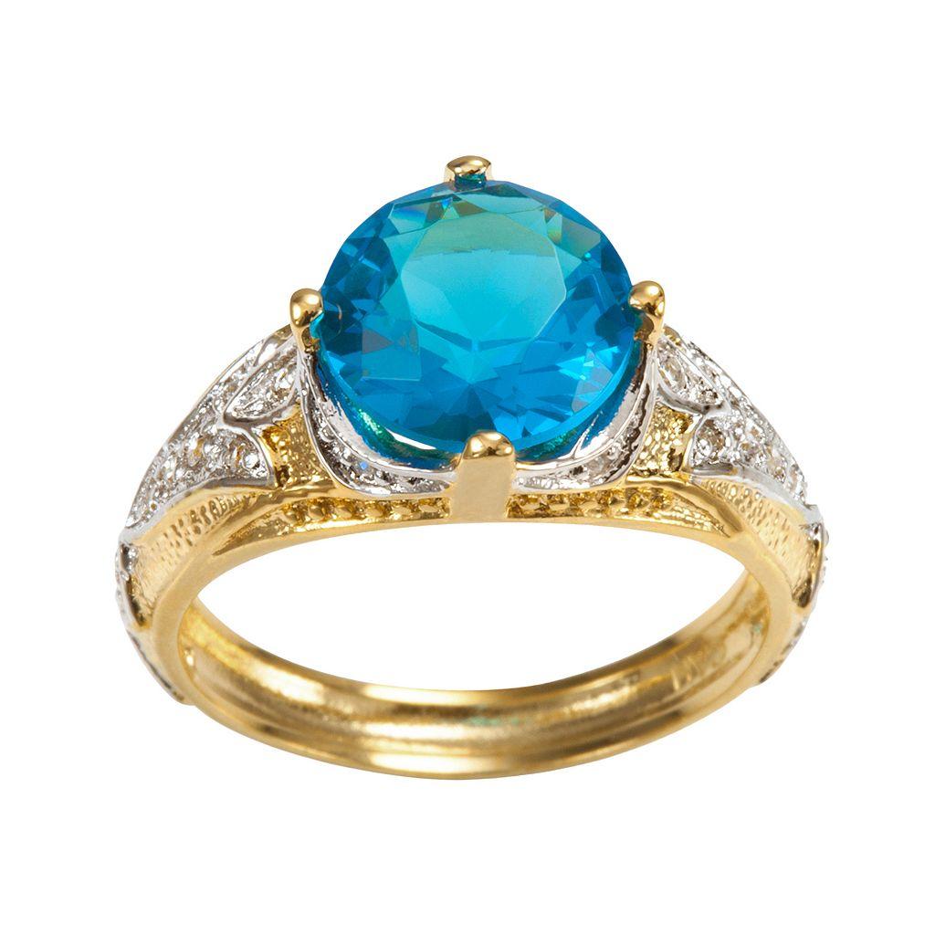 Sophie Miller 14k Gold Over Silver & Sterling Silver Aqua & White Cubic Zirconia Filigree Ring