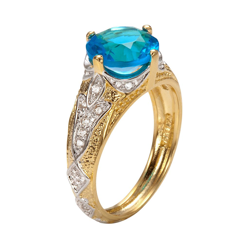Sophie Miller 14k Gold Over Silver and Sterling Silver Aqua and White Cubic Zirconia Filigree Ring