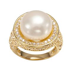Sophie Miller 14k Gold Over Silver Freshwater Cultured Pearl & Cubic Zirconia Halo Ring