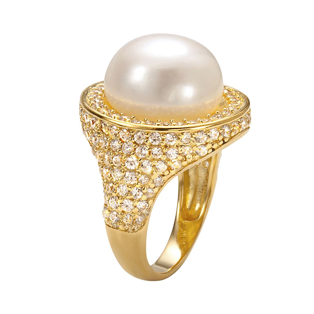 Sophie Miller 14k Gold Over Silver Freshwater Cultured Pearl and Cubic Zirconia Halo Ring