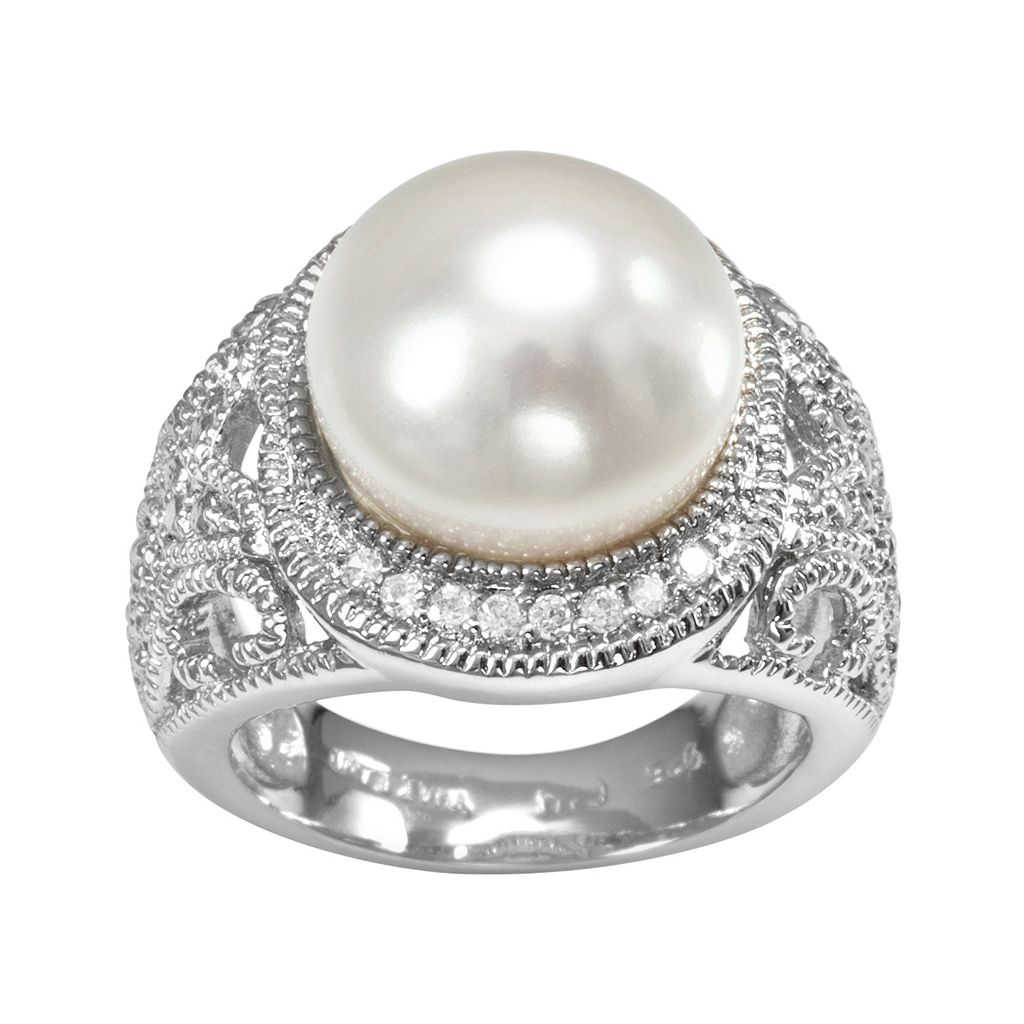 Sophie Miller Sterling Silver Freshwater Cultured Pearl & Cubic Zirconia Filigree Halo Ring