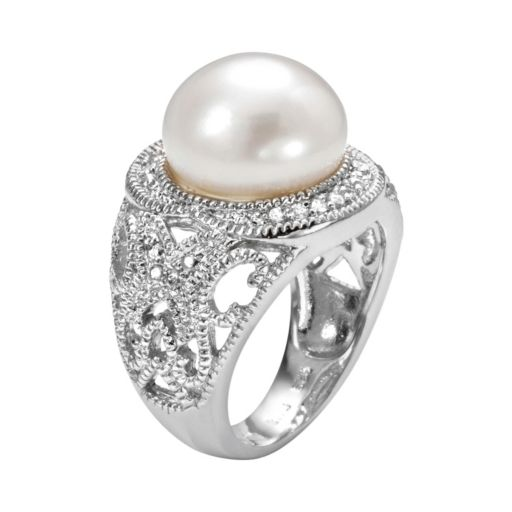 Sophie Miller Sterling Silver Freshwater Cultured Pearl and Cubic Zirconia Filigree Halo Ring