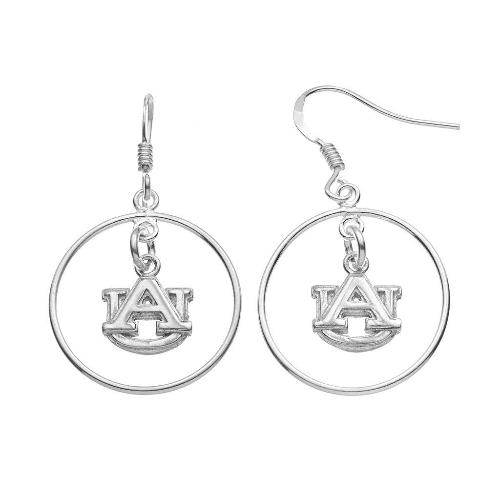 Dayna U Auburn Tigers Sterling Silver Logo Charm Hoop Drop Earrings