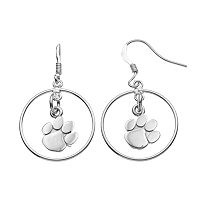 Dayna U Clemson Tigers Sterling Silver Logo Charm Hoop Drop Earrings