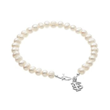 Dayna U Florida State Seminoles Sterling Silver Freshwater Cultured Pearl Logo Charm Toggle Bracelet
