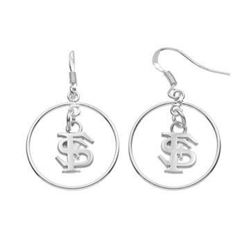 Dayna U Florida State Seminoles Sterling Silver Logo Charm Hoop Drop Earrings