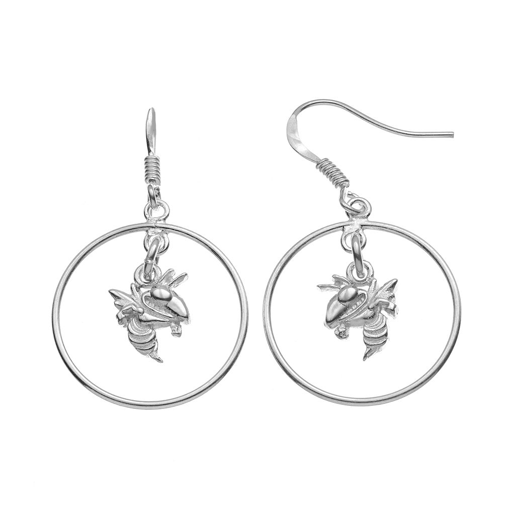 Dayna U Georgia Tech Yellow Jackets Sterling Silver Logo Charm Hoop Drop Earrings