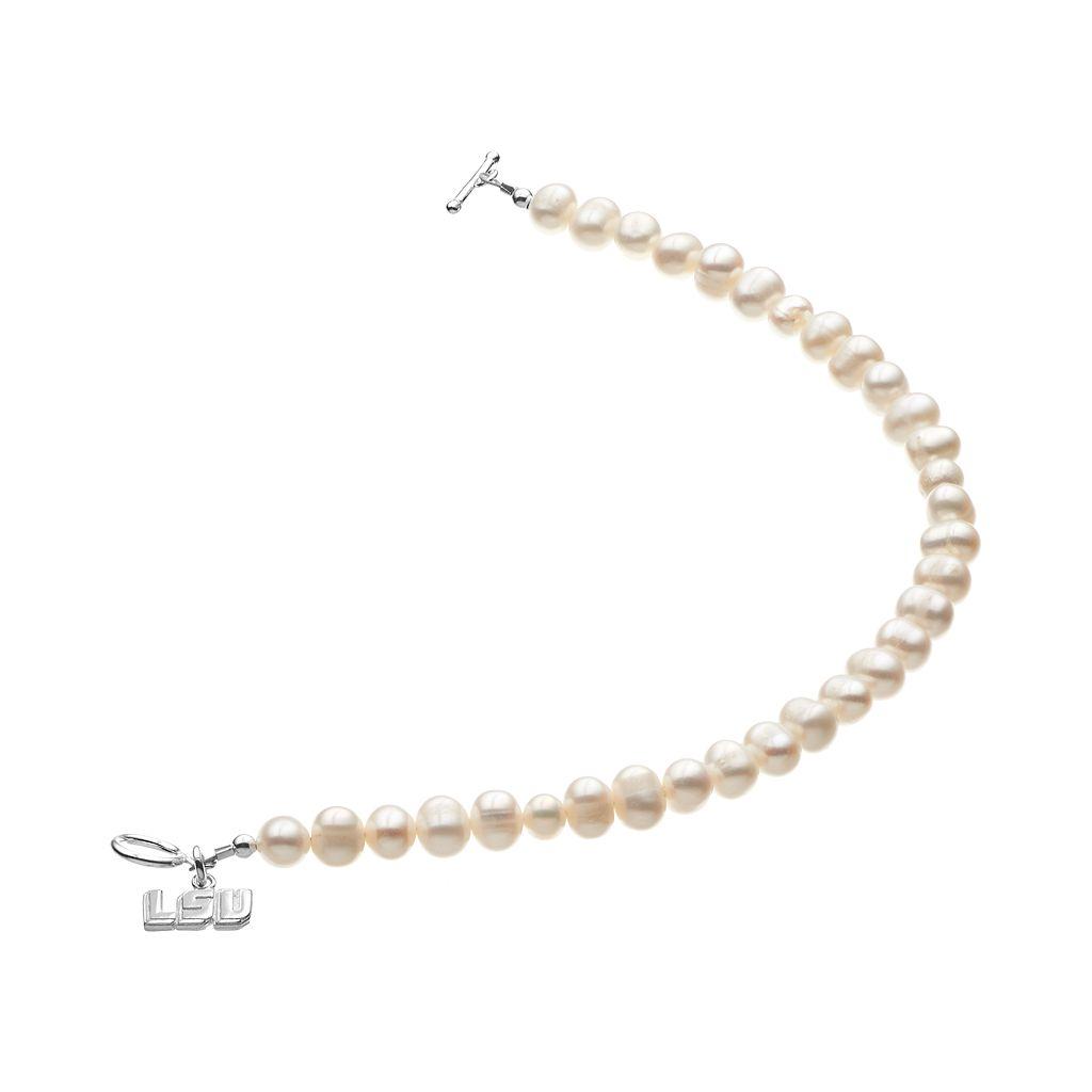 Dayna U LSU Tigers Sterling Silver Freshwater Cultured Pearl Logo Charm Toggle Bracelet