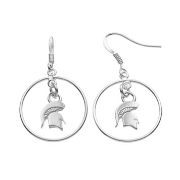 Dayna U Michigan State Spartans Sterling Silver Logo Charm Hoop Drop Earrings