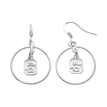 Dayna U North Carolina State Wolfpack Sterling Silver Logo Charm Hoop Drop Earrings