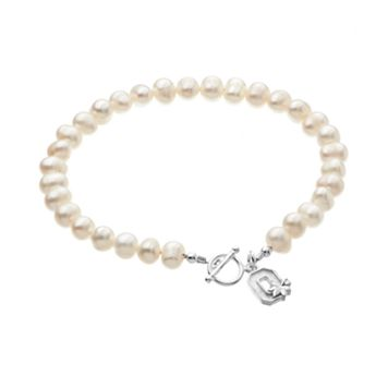 Dayna U Ohio State Buckeyes Sterling Silver Freshwater Cultured Pearl Logo Charm Toggle Bracelet