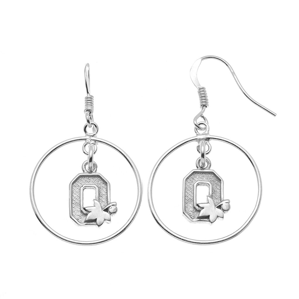 Dayna U Ohio State Buckeyes Sterling Silver Logo Charm Hoop Drop Earrings