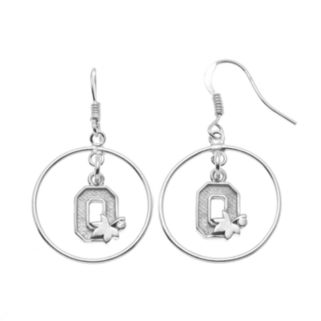 Dayna U Ohio State Buckeyes Sterling Silver Logo Charm Hoop Drop Earrings