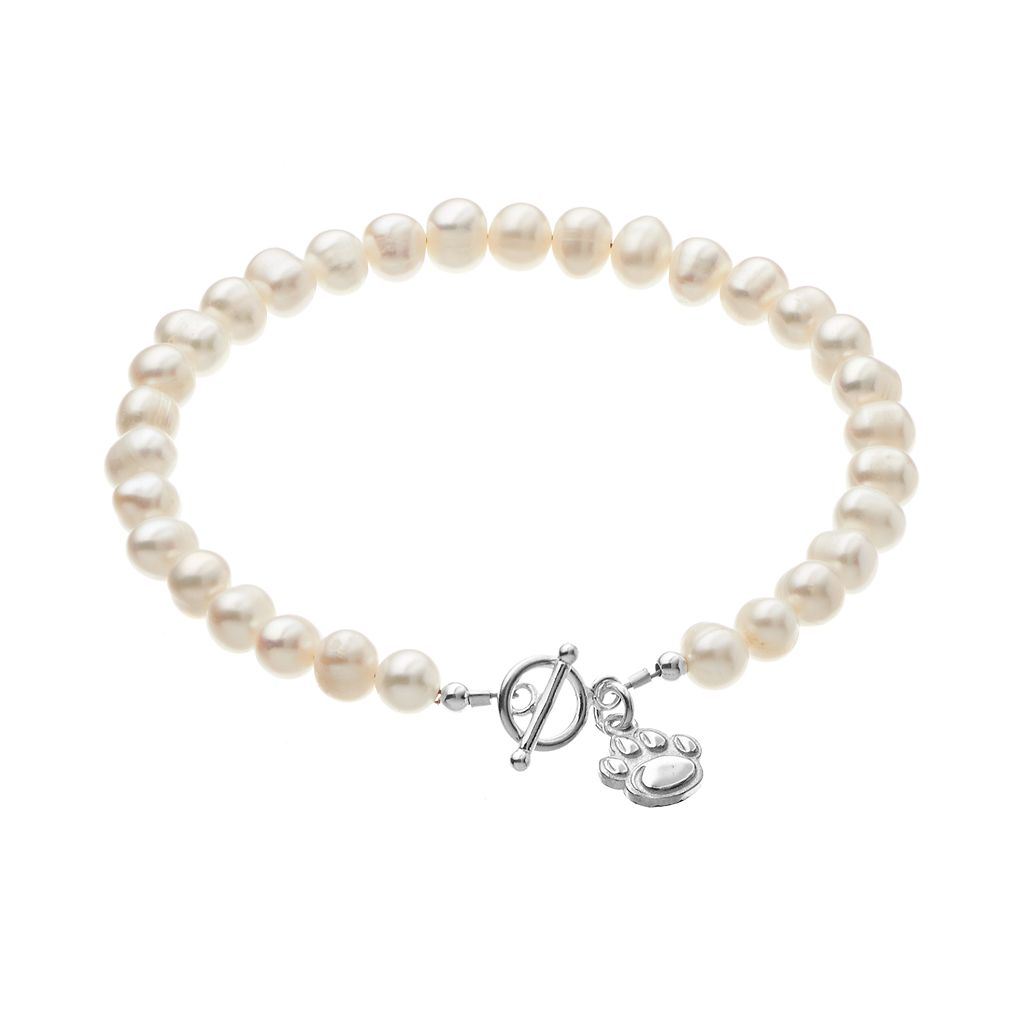 Dayna U Penn State Nittany Lions Sterling Silver Freshwater Cultured Pearl Logo Charm Toggle Bracelet