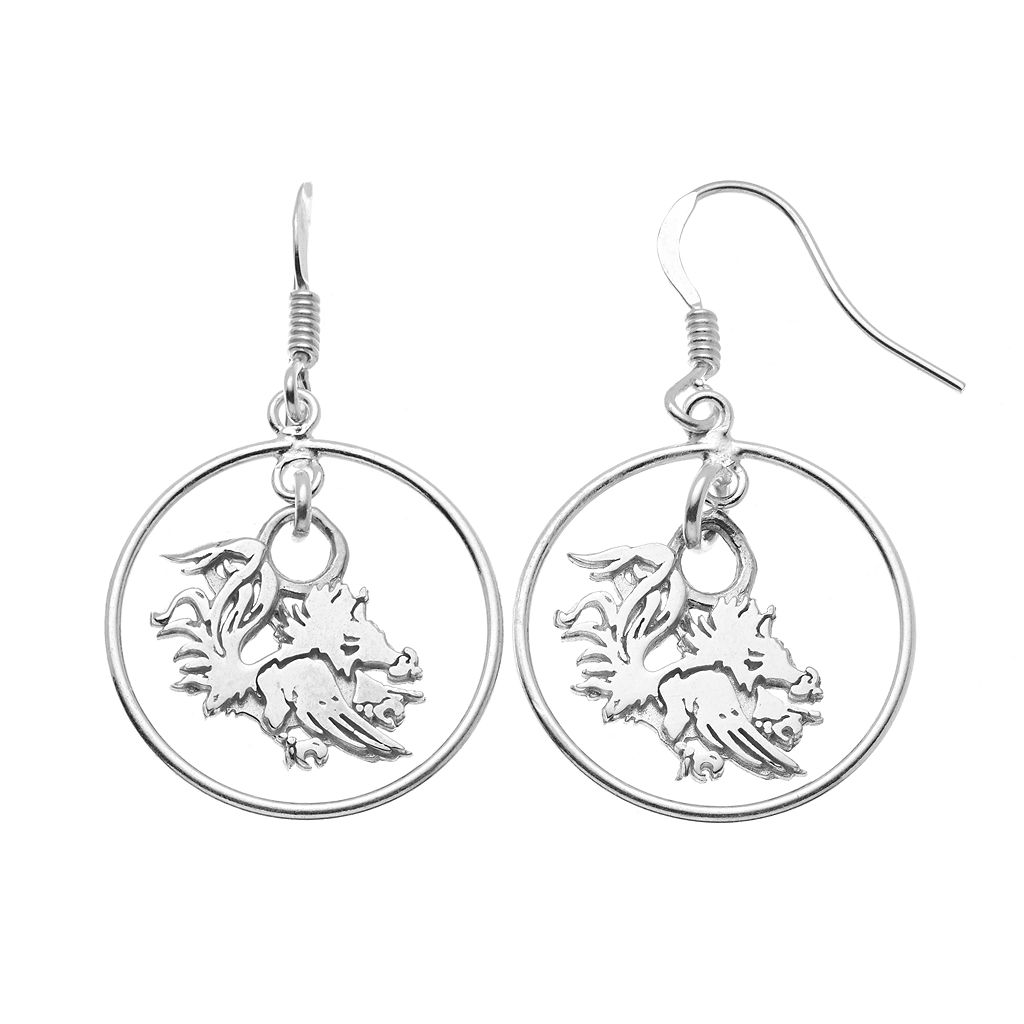 Dayna U South Carolina Gamecocks Sterling Silver Logo Charm Hoop Drop Earrings