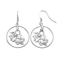 Dayna U South Carolina Gamecocks Sterling Silver Logo Charm Hoop Drop Earrings