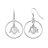 Dayna U Texas A&M Aggies Sterling Silver Logo Charm Hoop Drop Earrings