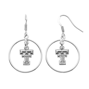 Dayna U Texas Tech Red Raiders Sterling Silver Logo Charm Hoop Drop Earrings
