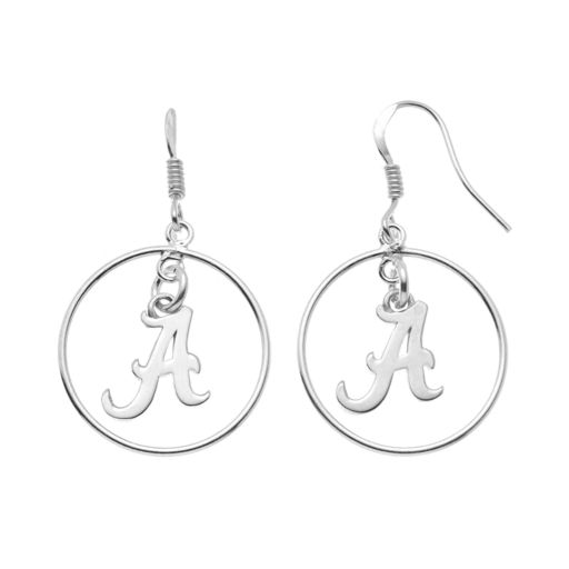 Dayna U Alabama Crimson Tide Sterling Silver Logo Charm Hoop Drop Earrings