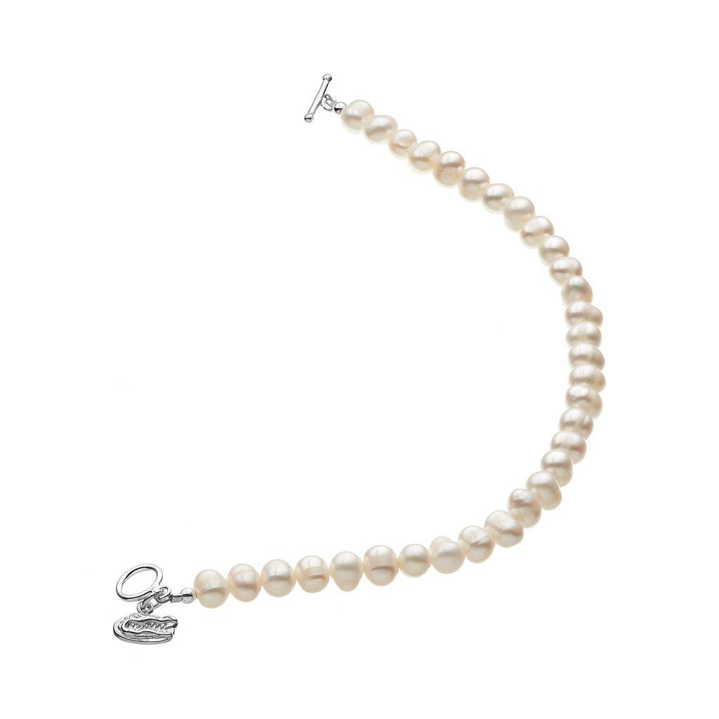 Dayna U Florida Gators Sterling Silver Freshwater Cultured Pearl Logo Charm Toggle Bracelet