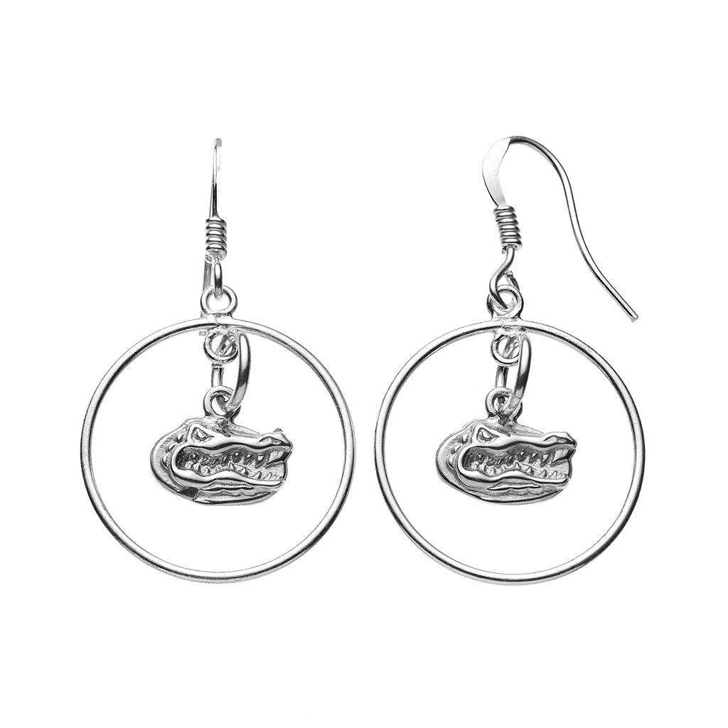 Dayna U Florida Gators Sterling Silver Logo Charm Hoop Drop Earrings