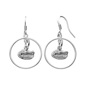 Dayna U Florida Gators Sterling Silver Logo Charm Hoop Drop Earrings