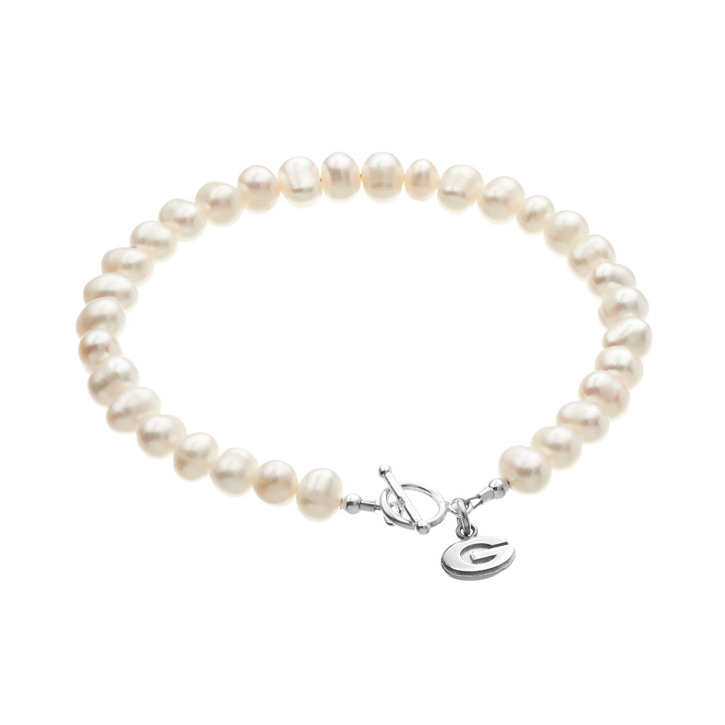 Dayna U Georgia Bulldogs Sterling Silver Freshwater Cultured Pearl Logo Charm Toggle Bracelet