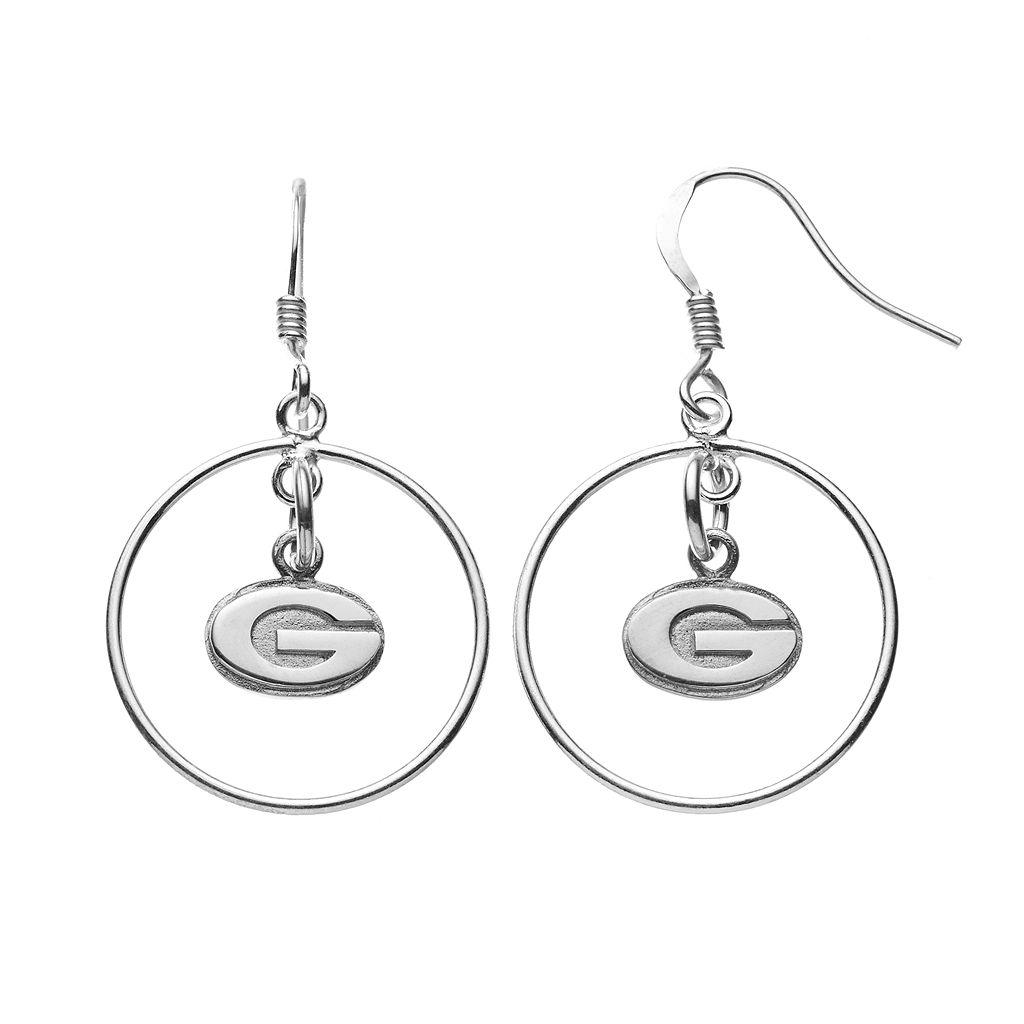 Dayna U Georgia Bulldogs Sterling Silver Logo Charm Hoop Drop Earrings