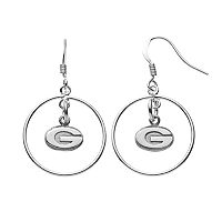 Dayna U Georgia Bulldogs Sterling Silver Logo Charm Hoop Drop Earrings
