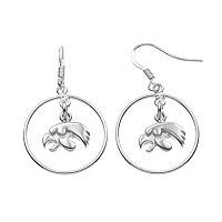 Dayna U Iowa Hawkeyes Sterling Silver Logo Charm Hoop Drop Earrings