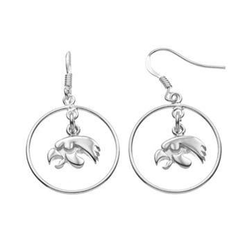 Dayna U Iowa Hawkeyes Sterling Silver Logo Charm Hoop Drop Earrings