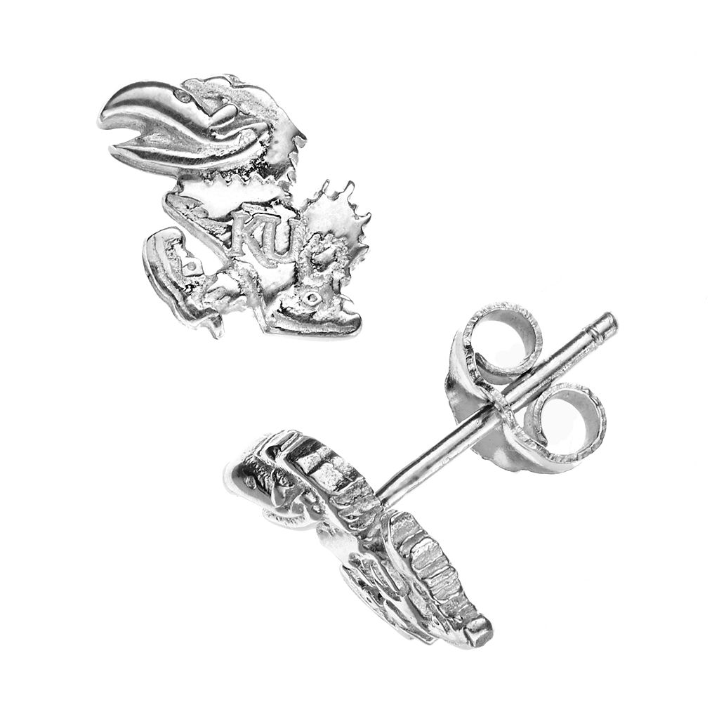 Dayna U Kansas Jayhawks Sterling Silver Logo Stud Earrings