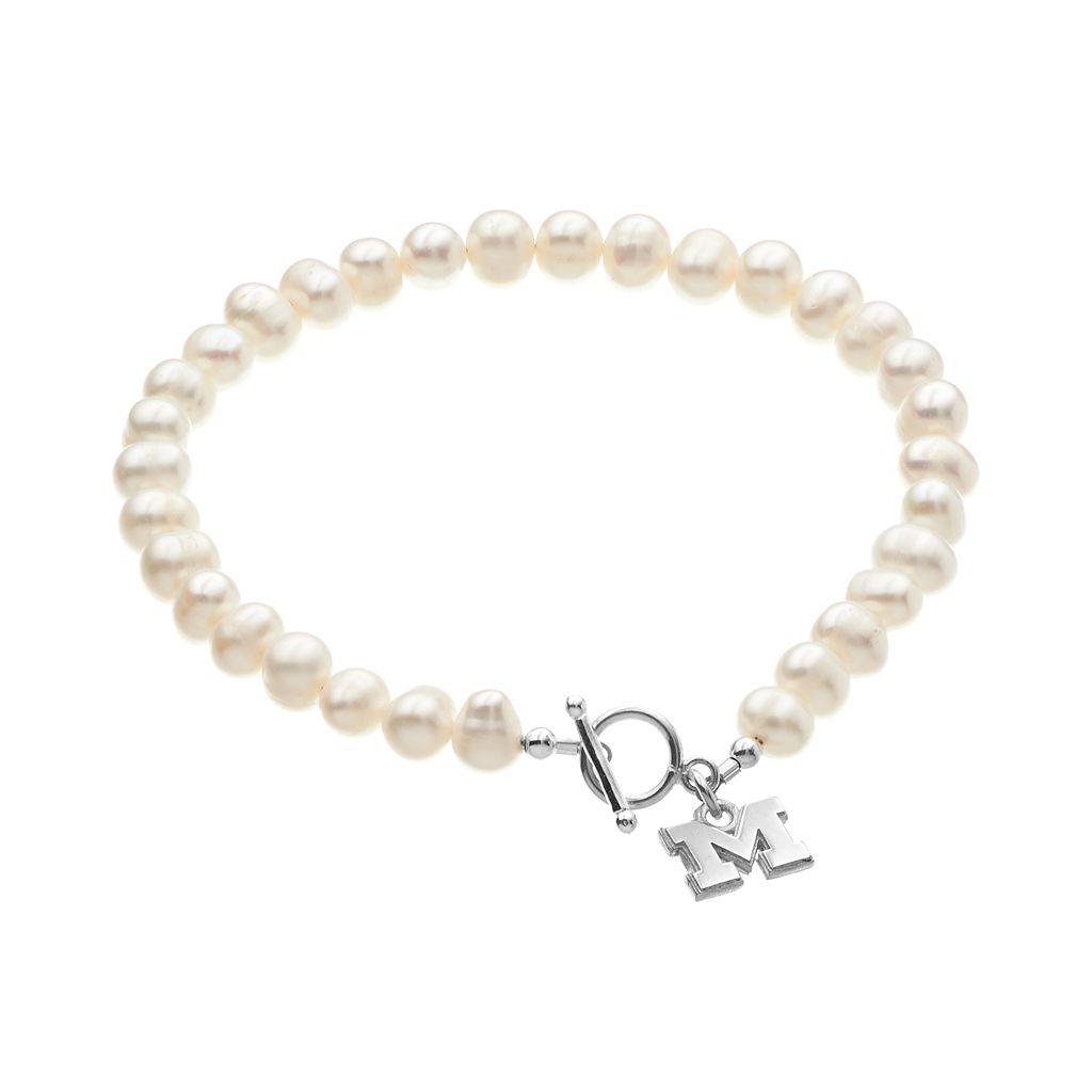 Dayna U Michigan Wolverines Sterling Silver Freshwater Cultured Pearl Logo Charm Toggle Bracelet