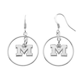 Dayna U Michigan Wolverines Sterling Silver Logo Charm Hoop Drop Earrings