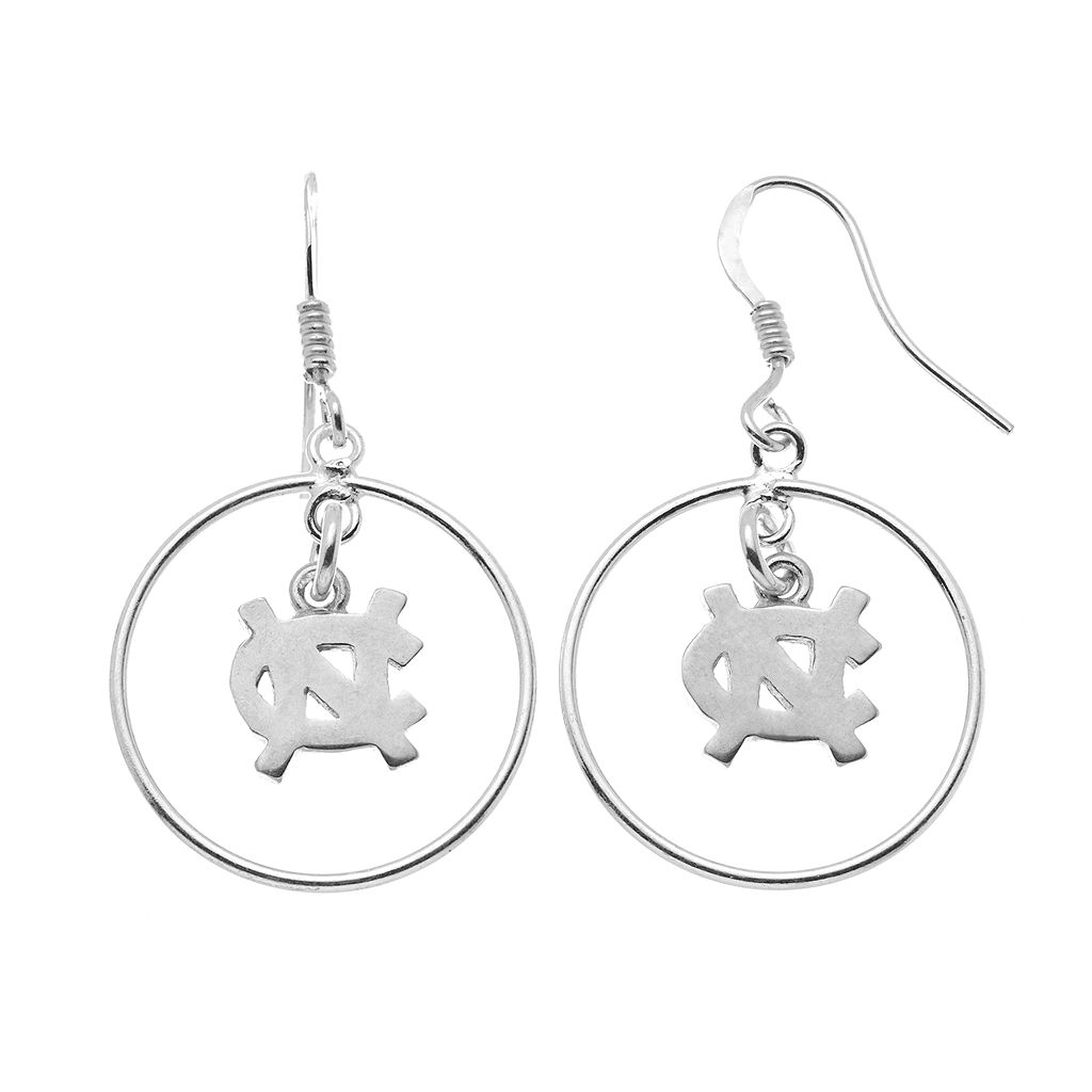 Dayna U North Carolina Tar Heels Sterling Silver Logo Charm Hoop Drop Earrings