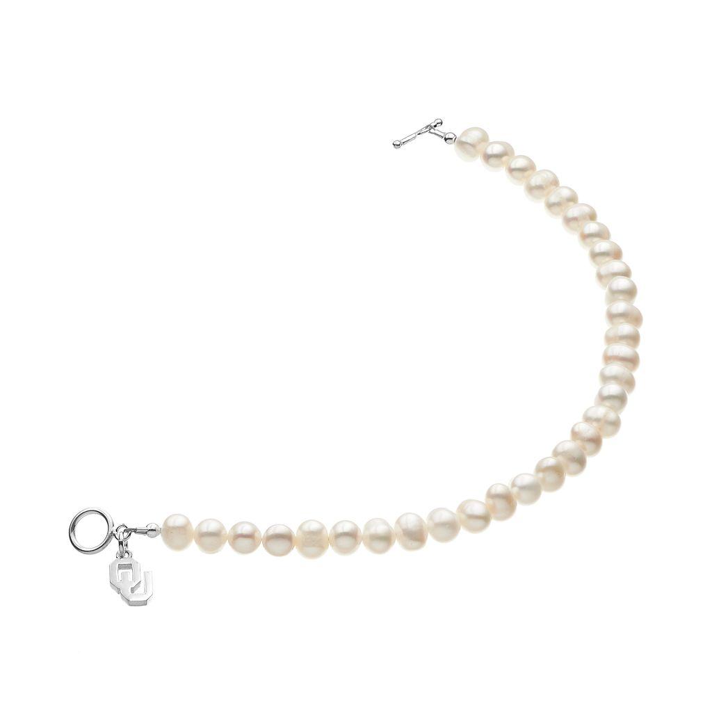 Dayna U Oklahoma Sooners Sterling Silver Freshwater Cultured Pearl Logo Charm Toggle Bracelet