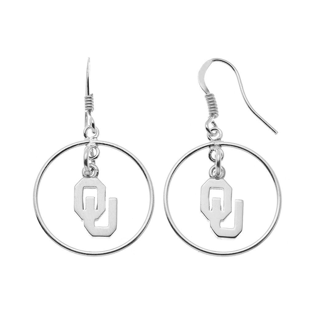 Dayna U Oklahoma Sooners Sterling Silver Logo Charm Hoop Drop Earrings
