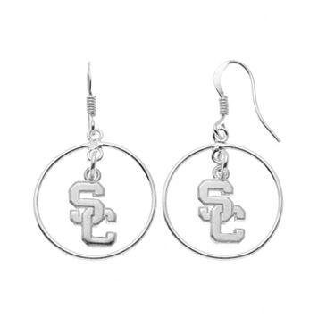 Dayna U USC Trojans Sterling Silver Logo Charm Hoop Drop Earrings