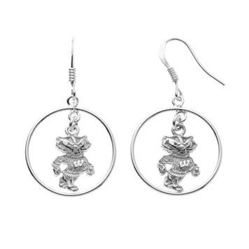 Dayna U Wisconsin Badgers Sterling Silver Logo Charm Hoop Drop Earrings