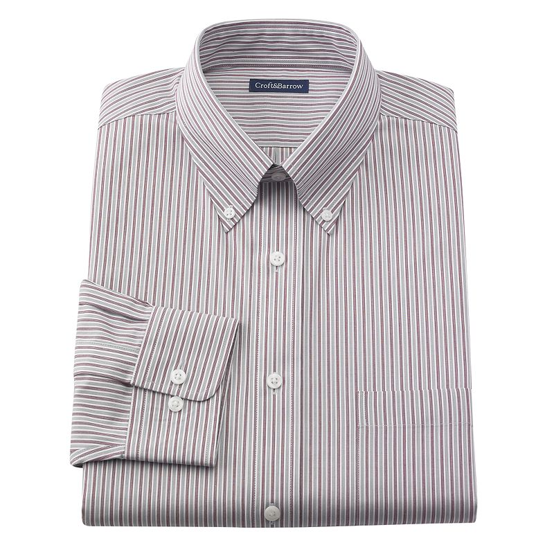 Croft & Barrow Classic-Fit Striped Button-Down Collar No Iron Dress Shirt