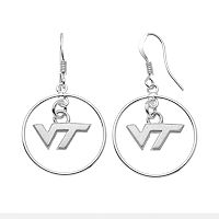 Dayna U Virginia Tech Hokies Sterling Silver Logo Charm Hoop Drop Earrings