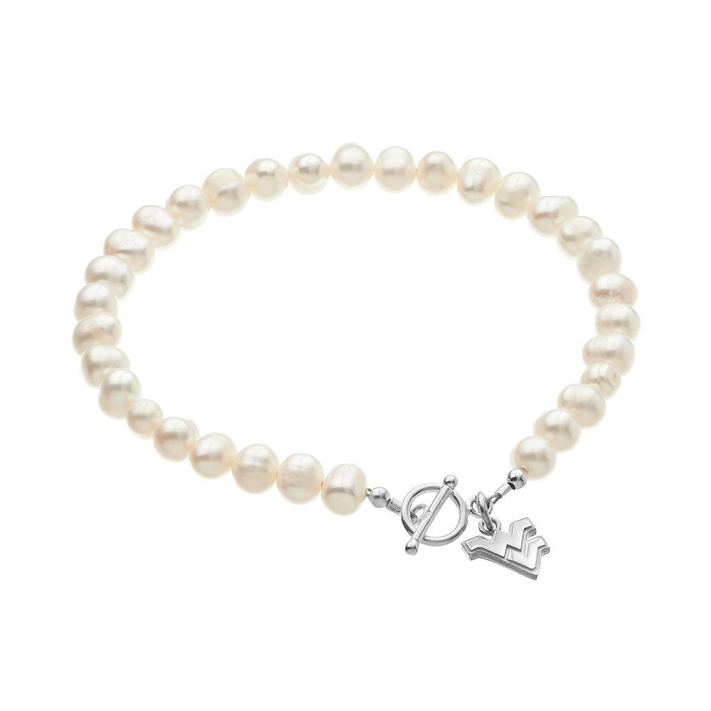 Dayna U West Virginia Mountaineers Sterling Silver Freshwater Cultured Pearl Logo Charm Bracelet