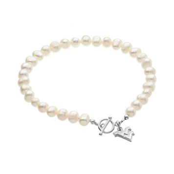 Dayna U West Virginia Mountaineers Sterling Silver Freshwater Cultured Pearl Logo Charm Bracelet